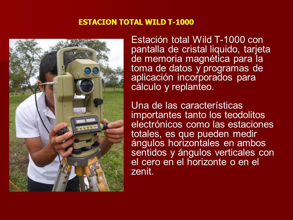 Estación total Wild T-1000 con pantalla de cristal liquido, tarjeta de memoria magnética para la toma de datos y programas de aplicación incorporados