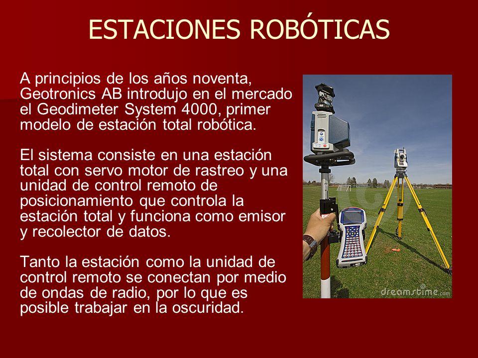 ESTACIONES ROBÓTICAS A principios de los años noventa, Geotronics AB introdujo en el mercado el Geodimeter System 4000, primer modelo de estación tota