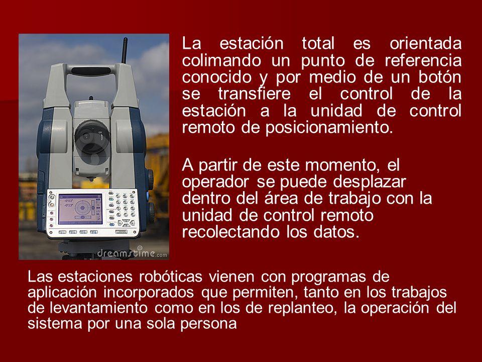 La estación total es orientada colimando un punto de referencia conocido y por medio de un botón se transfiere el control de la estación a la unidad d
