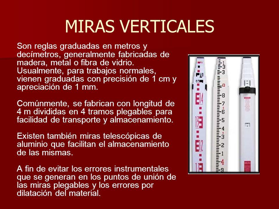 MIRAS VERTICALES Son reglas graduadas en metros y decímetros, generalmente fabricadas de madera, metal o fibra de vidrio. Usualmente, para trabajos no