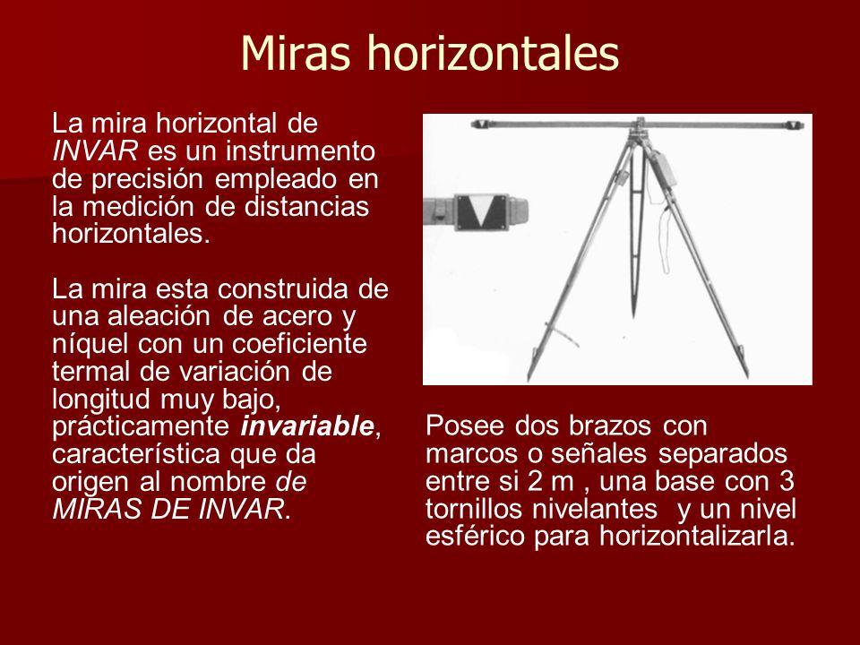 Miras horizontales La mira horizontal de INVAR es un instrumento de precisión empleado en la medición de distancias horizontales. La mira esta constru