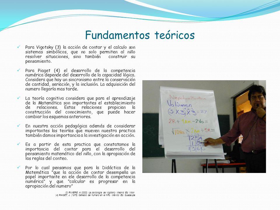 Fundamentos teóricos Para Vigotsky (3) la acción de contar y el calculo son sistemas simbólicos, que no solo permiten al niño resolver situaciones, si