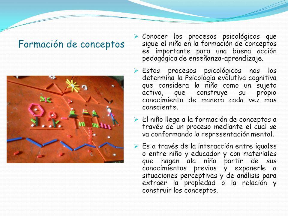 Formación de conceptos Conocer los procesos psicológicos que sigue el niño en la formación de conceptos es importante para una buena acción pedagógica