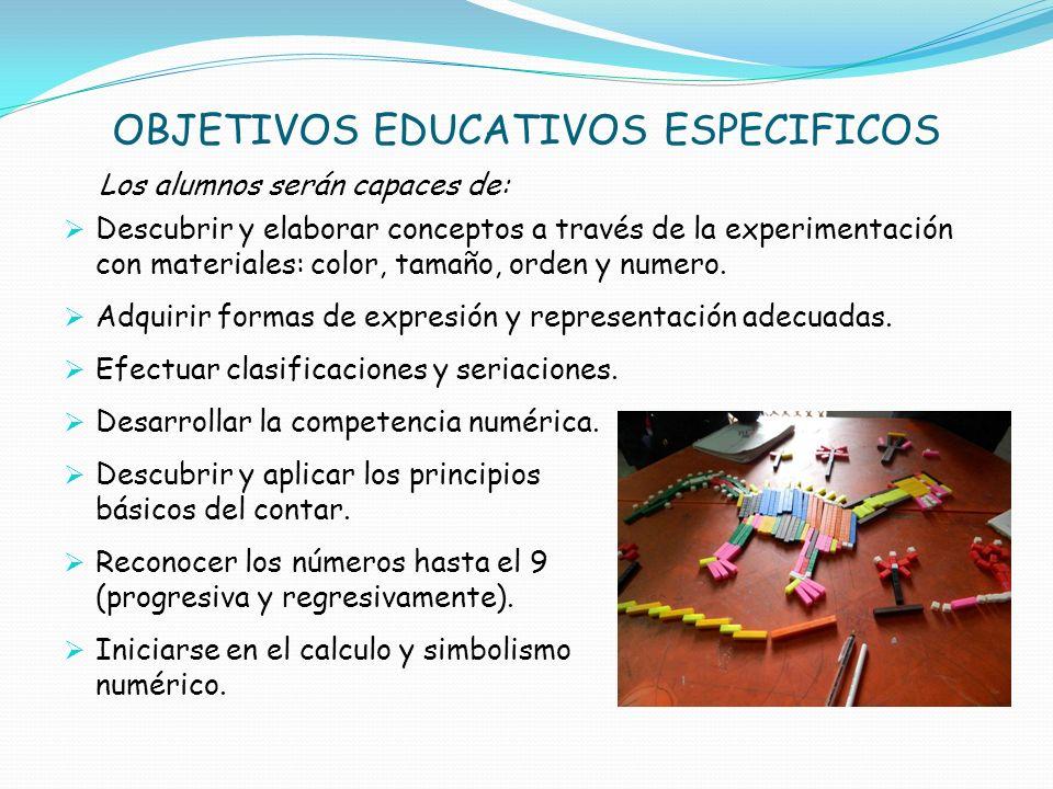 OBJETIVOS EDUCATIVOS ESPECIFICOS Los alumnos serán capaces de: Descubrir y elaborar conceptos a través de la experimentación con materiales: color, ta