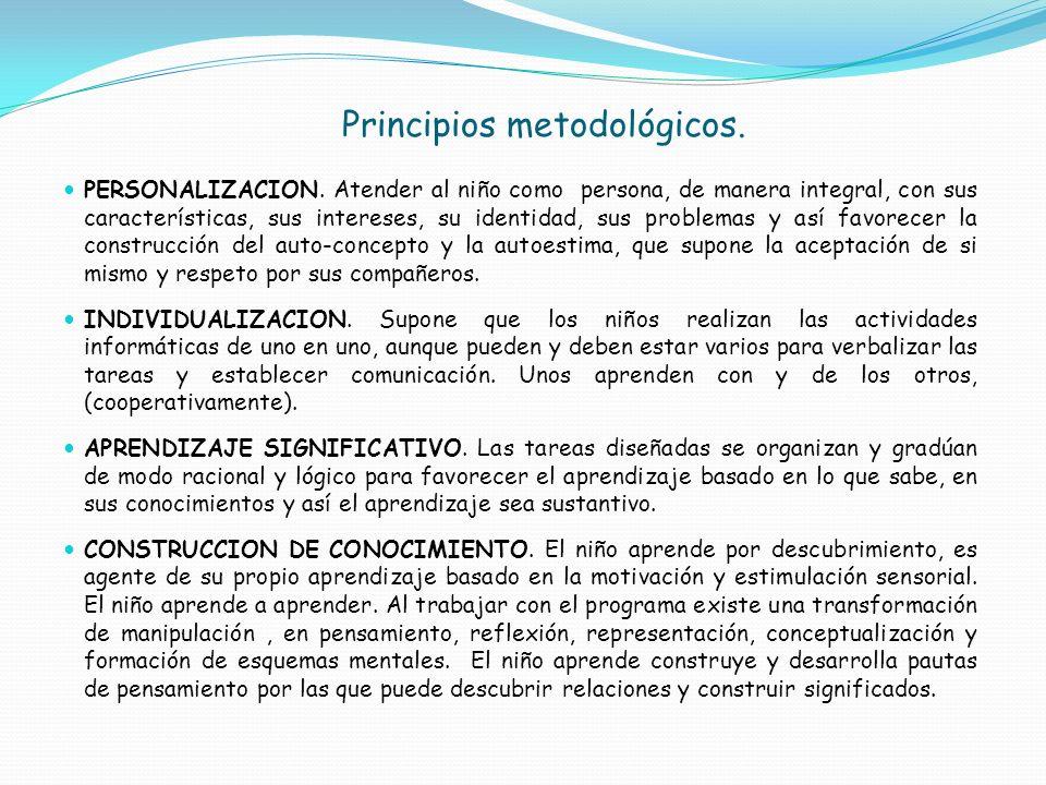 Principios metodológicos. PERSONALIZACION. Atender al niño como persona, de manera integral, con sus características, sus intereses, su identidad, sus