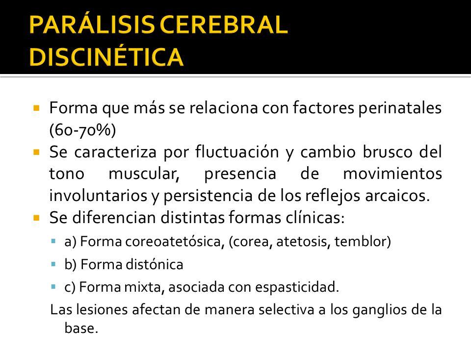 Forma que más se relaciona con factores perinatales (60-70%) Se caracteriza por fluctuación y cambio brusco del tono muscular, presencia de movimiento