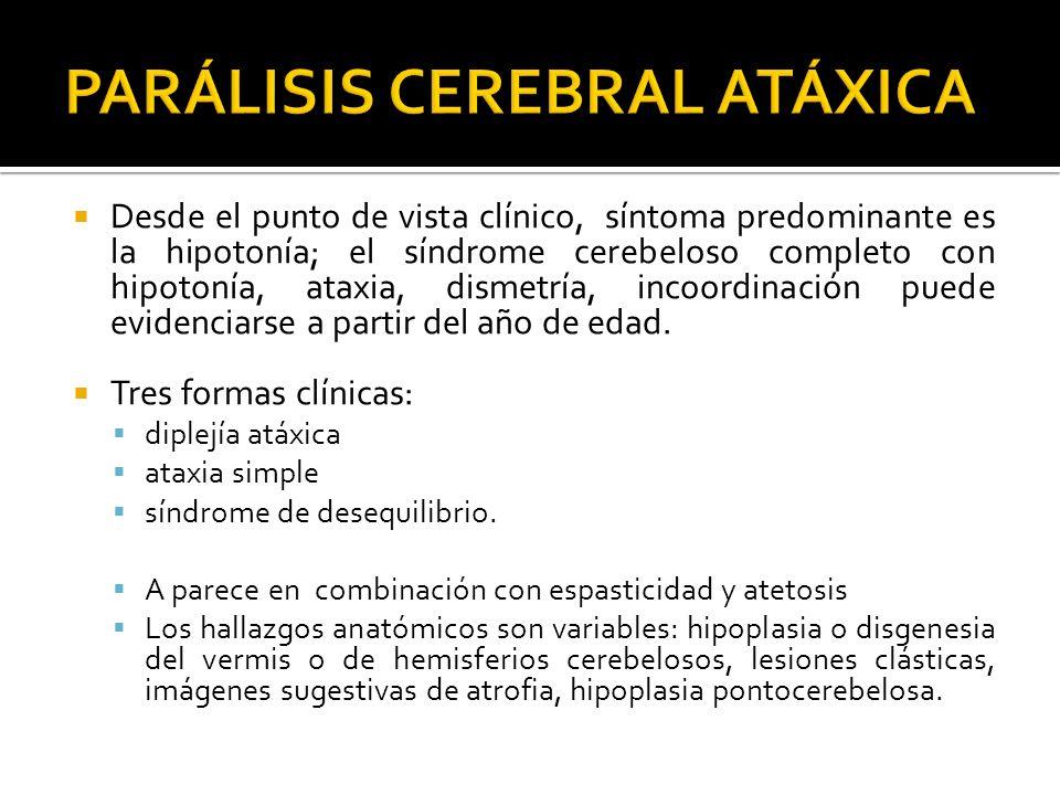 Desde el punto de vista clínico, síntoma predominante es la hipotonía; el síndrome cerebeloso completo con hipotonía, ataxia, dismetría, incoordinació