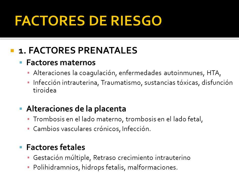 1. FACTORES PRENATALES Factores maternos Alteraciones la coagulación, enfermedades autoinmunes, HTA, Infección intrauterina, Traumatismo, sustancias t