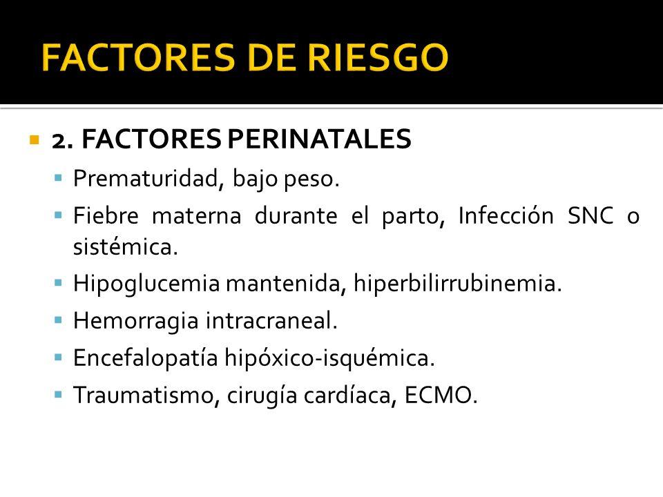 2. FACTORES PERINATALES Prematuridad, bajo peso. Fiebre materna durante el parto, Infección SNC o sistémica. Hipoglucemia mantenida, hiperbilirrubinem