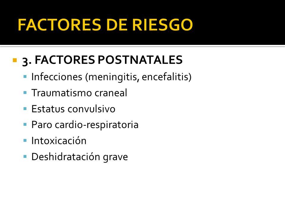 3. FACTORES POSTNATALES Infecciones (meningitis, encefalitis) Traumatismo craneal Estatus convulsivo Paro cardio-respiratoria Intoxicación Deshidratac