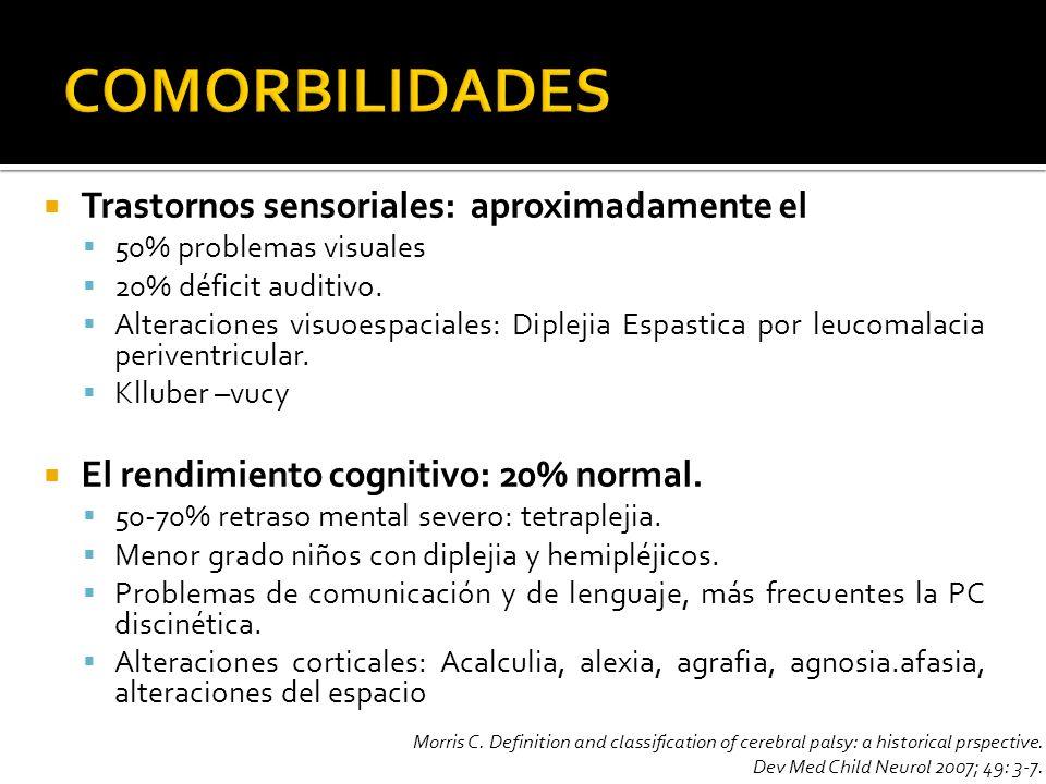 Trastornos sensoriales: aproximadamente el 50% problemas visuales 20% déficit auditivo. Alteraciones visuoespaciales: Diplejia Espastica por leucomala