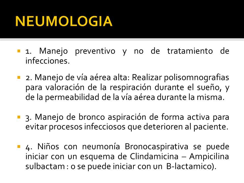 1. Manejo preventivo y no de tratamiento de infecciones. 2. Manejo de vía aérea alta: Realizar polisomnografias para valoración de la respiración dura