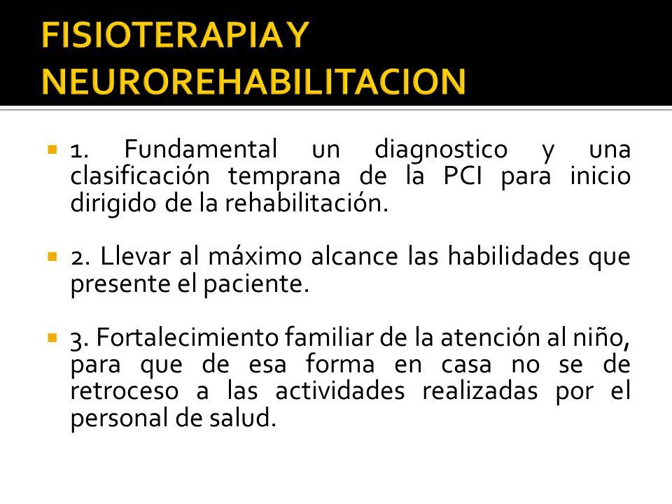 1. Fundamental un diagnostico y una clasificación temprana de la PCI para inicio dirigido de la rehabilitación. 2. Llevar al máximo alcance las habili