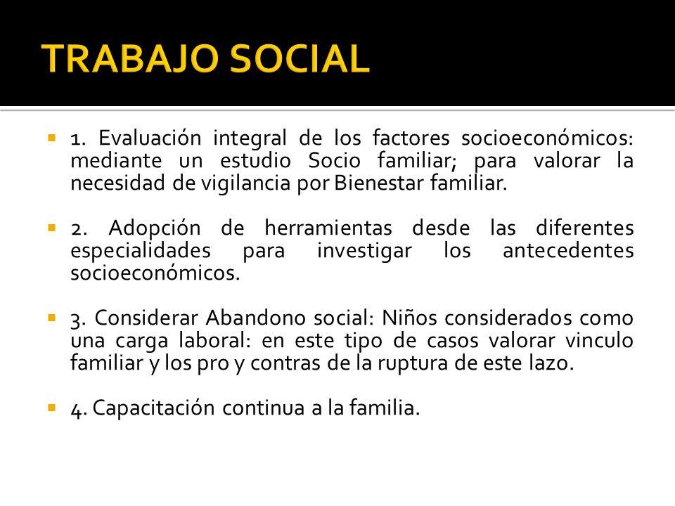 1. Evaluación integral de los factores socioeconómicos: mediante un estudio Socio familiar; para valorar la necesidad de vigilancia por Bienestar fami