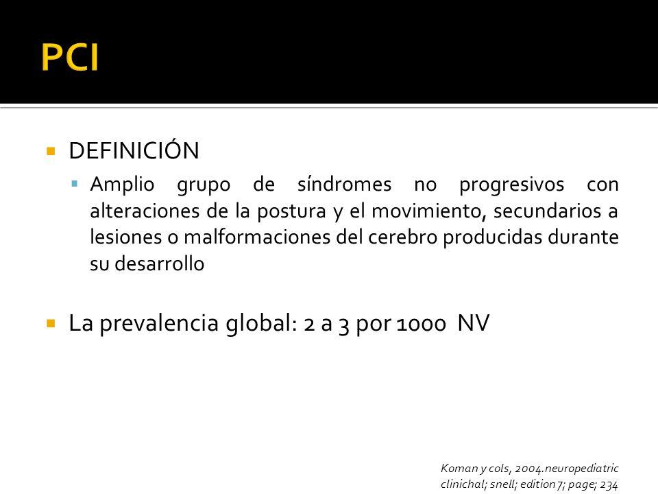 DEFINICIÓN Amplio grupo de síndromes no progresivos con alteraciones de la postura y el movimiento, secundarios a lesiones o malformaciones del cerebr