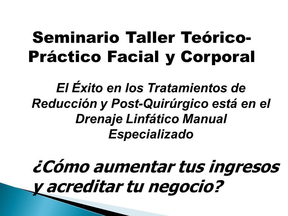 Seminario Taller Teórico- Práctico Facial y Corporal El Éxito en los Tratamientos de Reducción y Post-Quirúrgico está en el Drenaje Linfático Manual E