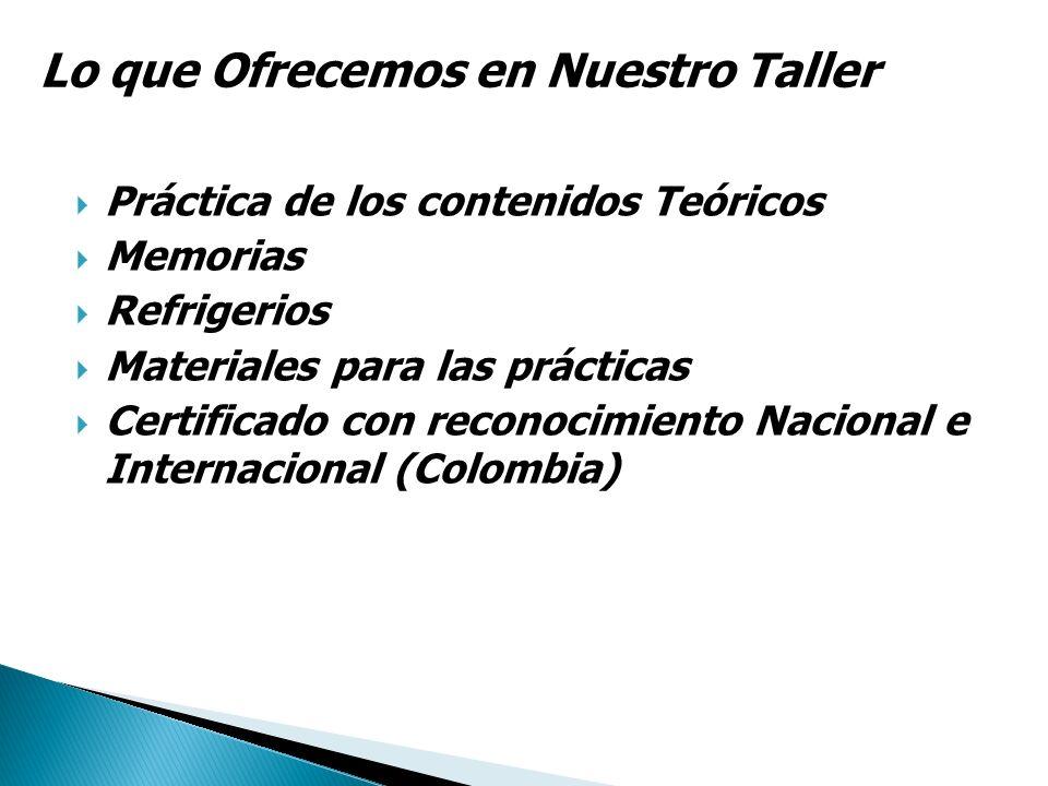 Práctica de los contenidos Teóricos Memorias Refrigerios Materiales para las prácticas Certificado con reconocimiento Nacional e Internacional (Colomb