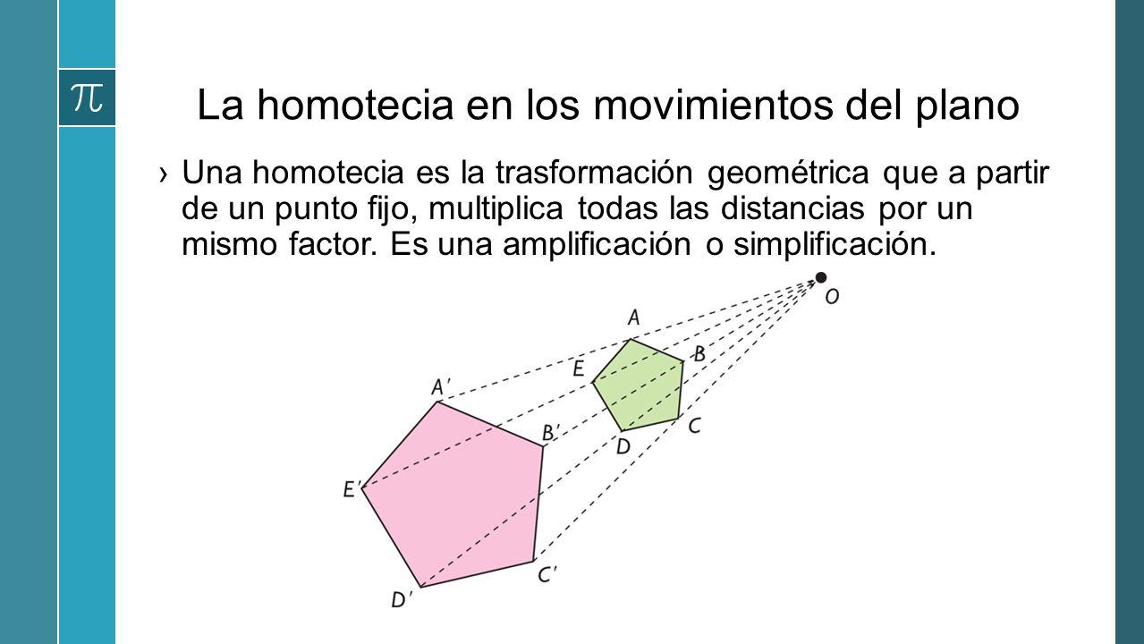 La homotecia en los movimientos del plano Una homotecia es la trasformación geométrica que a partir de un punto fijo, multiplica todas las distancias