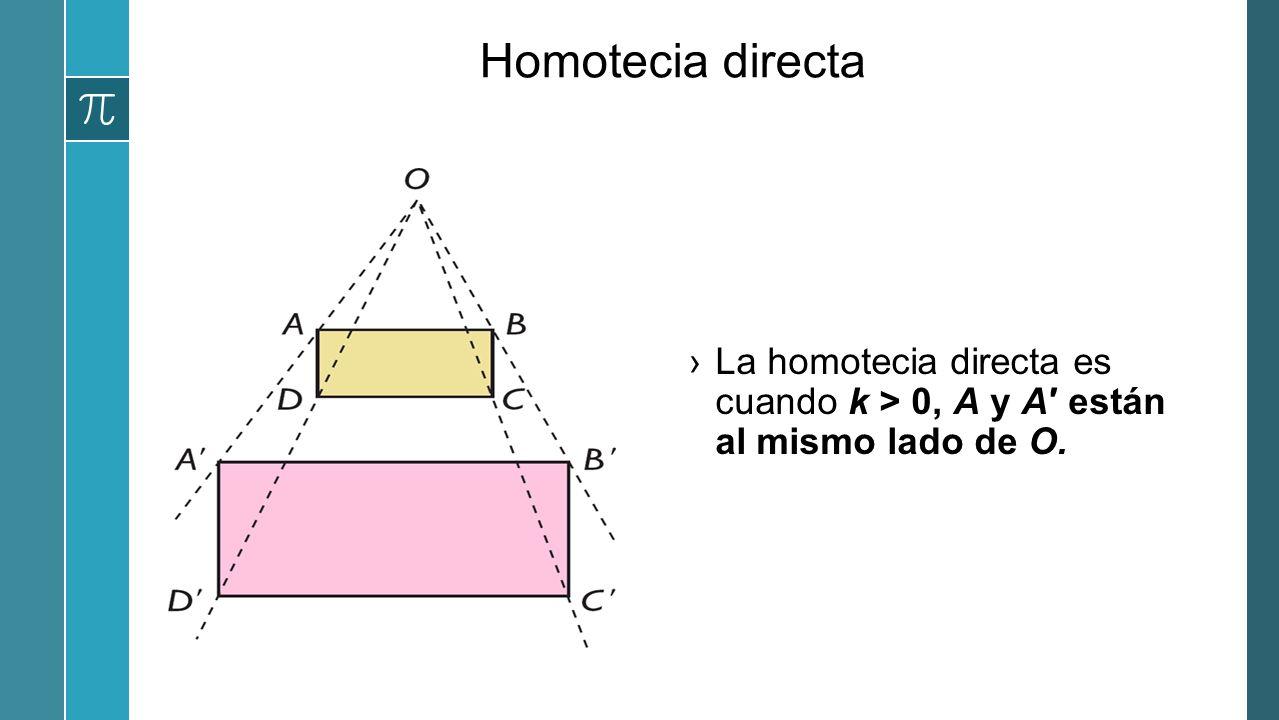 Homotecia directa La homotecia directa es cuando k > 0, A y A están al mismo lado de O.