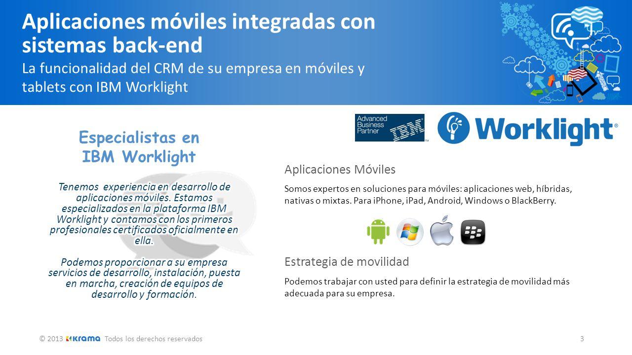 © 2013Todos los derechos reservados 3 Aplicaciones móviles integradas con sistemas back-end La funcionalidad del CRM de su empresa en móviles y tablet