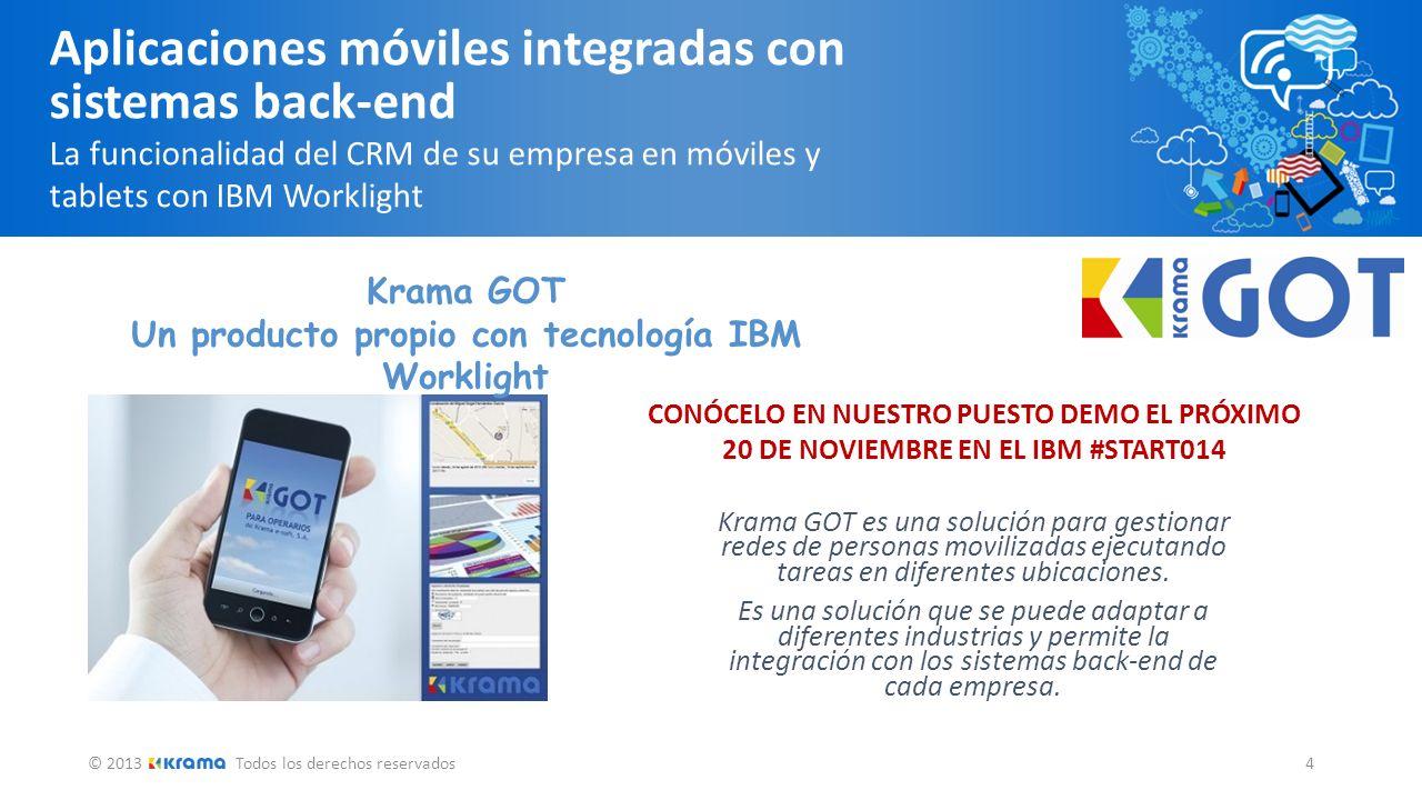 © 2013Todos los derechos reservados 5 Aplicaciones móviles integradas con sistemas back-end La funcionalidad del CRM de su empresa en móviles y tablets con IBM Worklight 9:30 h.