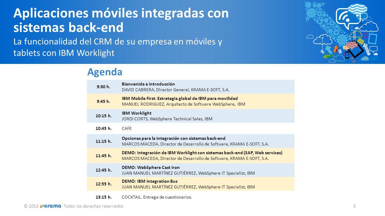 © 2013Todos los derechos reservados 5 Aplicaciones móviles integradas con sistemas back-end La funcionalidad del CRM de su empresa en móviles y tablet