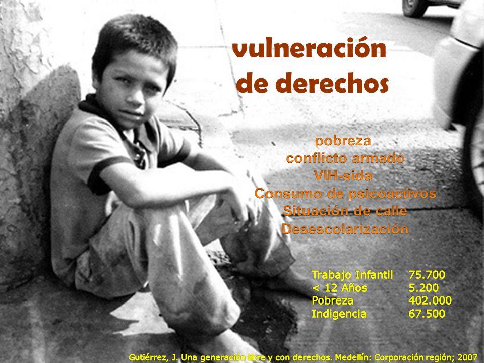 Censo 2002 * razones para estar en la calle: problemas económicos consumo de psicoactivos maltrato infantil * Censo de la Secretaria de Solidaridad del municipio de Medellín y el DANE, Departamento Administrativo Nacional de Estadística.
