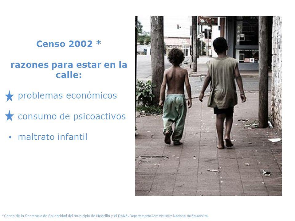 Censo 2002 * razones para estar en la calle: problemas económicos consumo de psicoactivos maltrato infantil * Censo de la Secretaria de Solidaridad de