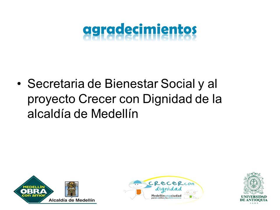 Secretaria de Bienestar Social y al proyecto Crecer con Dignidad de la alcaldía de Medellín