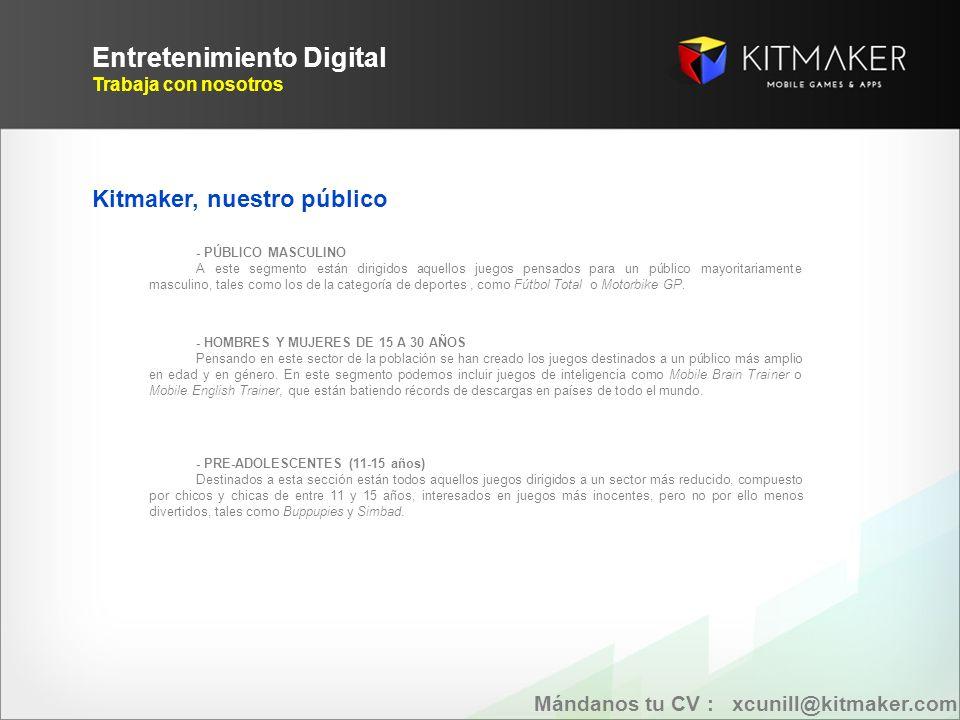 Entretenimiento Digital Trabaja con nosotros 2004…..2013 Mándanos tu CV : xcunill@kitmaker.com