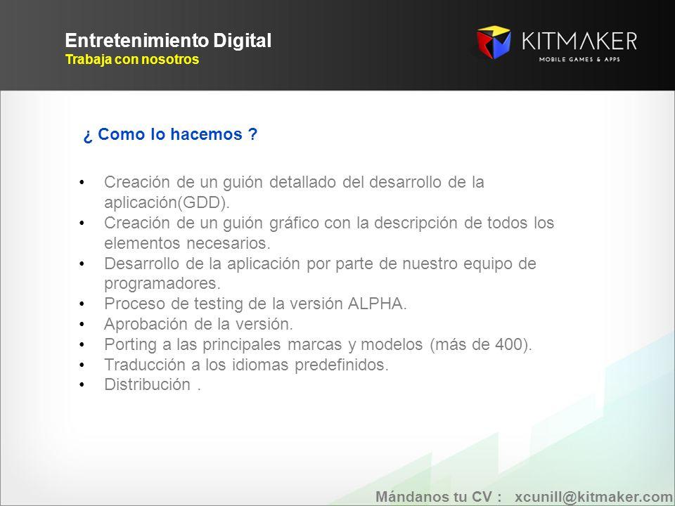 Entretenimiento Digital Trabaja con nosotros EVOLUCION Mándanos tu CV : xcunill@kitmaker.com