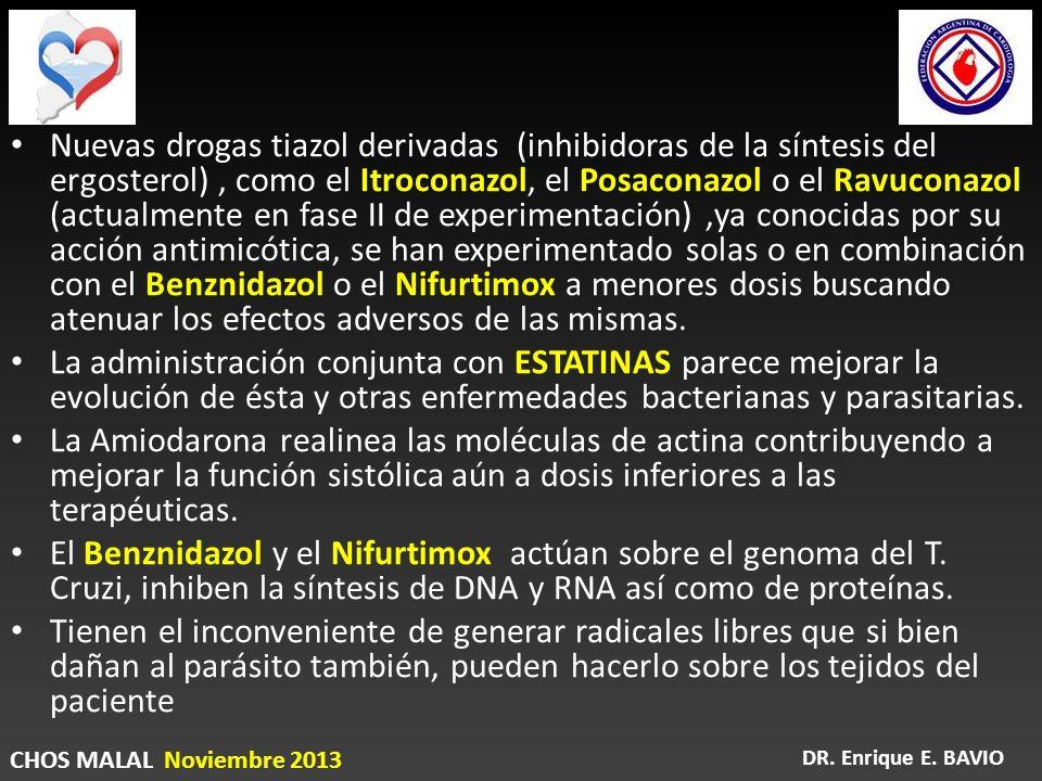 Nuevas drogas tiazol derivadas (inhibidoras de la síntesis del ergosterol), como el Itroconazol, el Posaconazol o el Ravuconazol (actualmente en fase