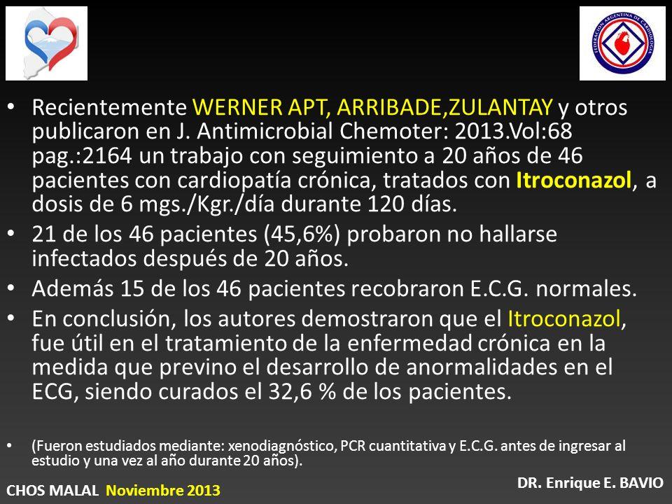 Recientemente WERNER APT, ARRIBADE,ZULANTAY y otros publicaron en J. Antimicrobial Chemoter: 2013.Vol:68 pag.:2164 un trabajo con seguimiento a 20 año