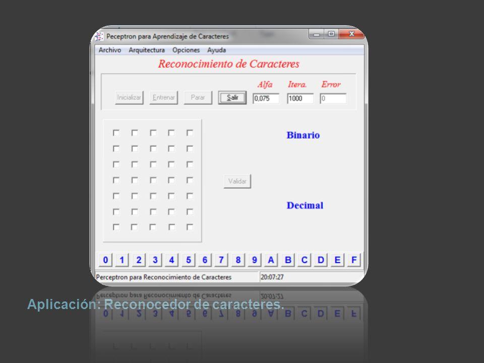 Demostración de como un Perceptrón ya entrenado es capaz de reconocer el carácter definido en la matriz de píxeles de la entrada