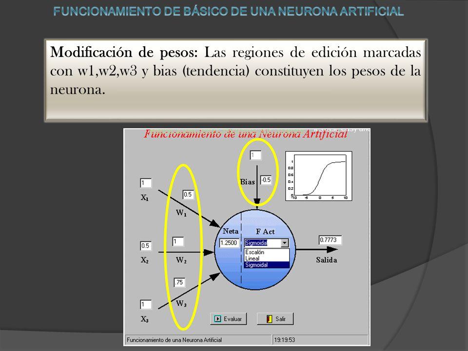 Modificación de pesos: Las regiones de edición marcadas con w1,w2,w3 y bias (tendencia) constituyen los pesos de la neurona.