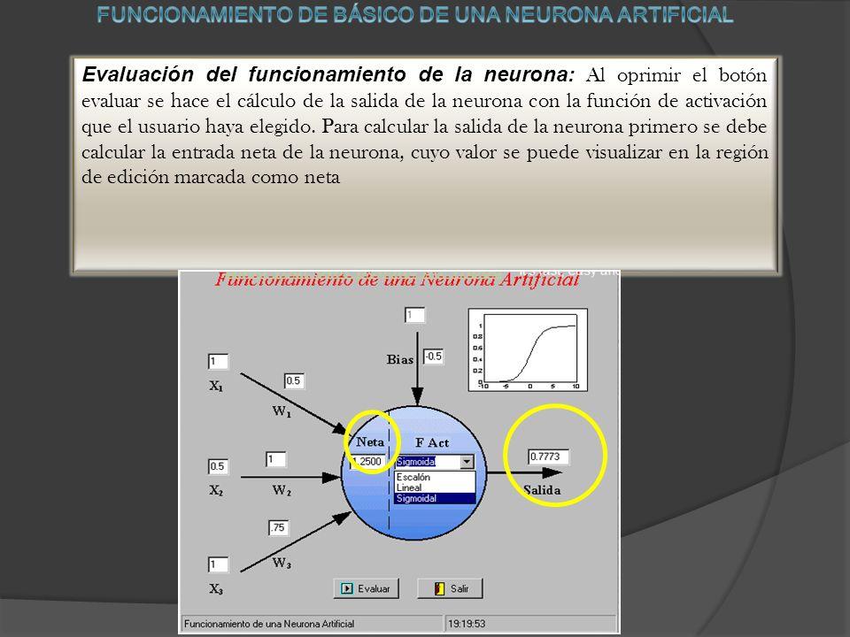 Evaluación del funcionamiento de la neurona: Al oprimir el botón evaluar se hace el cálculo de la salida de la neurona con la función de activación que el usuario haya elegido.
