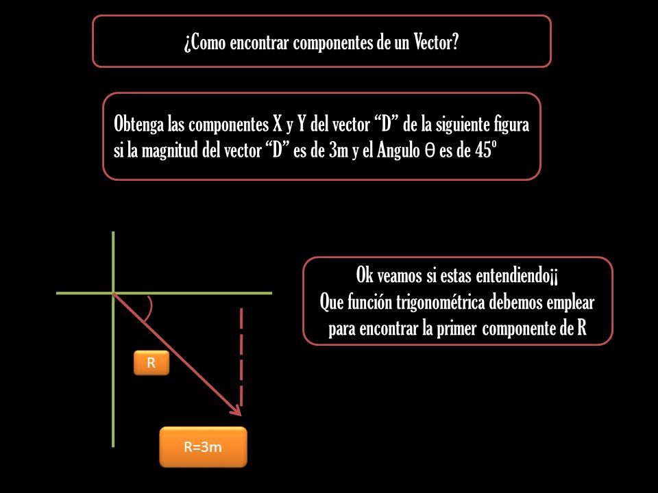 Obtenga las componentes X y Y del vector D de la siguiente figura si la magnitud del vector D es de 3m y el Angulo θ es de 45º ¿Como encontrar compone