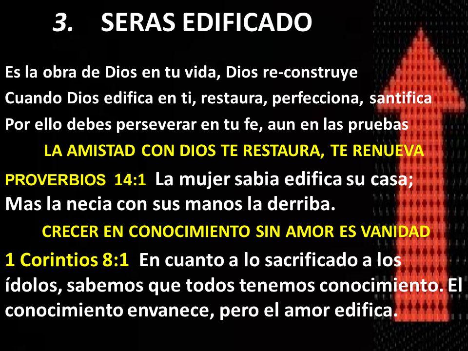 Es la obra de Dios en tu vida, Dios re-construye Cuando Dios edifica en ti, restaura, perfecciona, santifica Por ello debes perseverar en tu fe, aun e