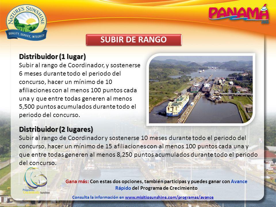 SUBIR DE RANGO Distribuidor (1 lugar) Subir al rango de Coordinador, y sostenerse 6 meses durante todo el periodo del concurso, hacer un mínimo de 10
