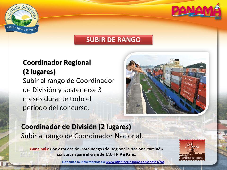 SUBIR DE RANGO Coordinador Regional (2 lugares) Subir al rango de Coordinador de División y sostenerse 3 meses durante todo el periodo del concurso. C