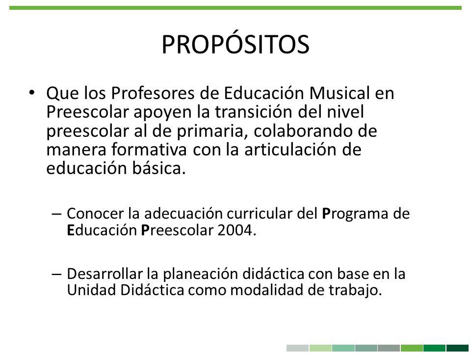 PROPÓSITOS Que los Profesores de Educación Musical en Preescolar apoyen la transición del nivel preescolar al de primaria, colaborando de manera forma