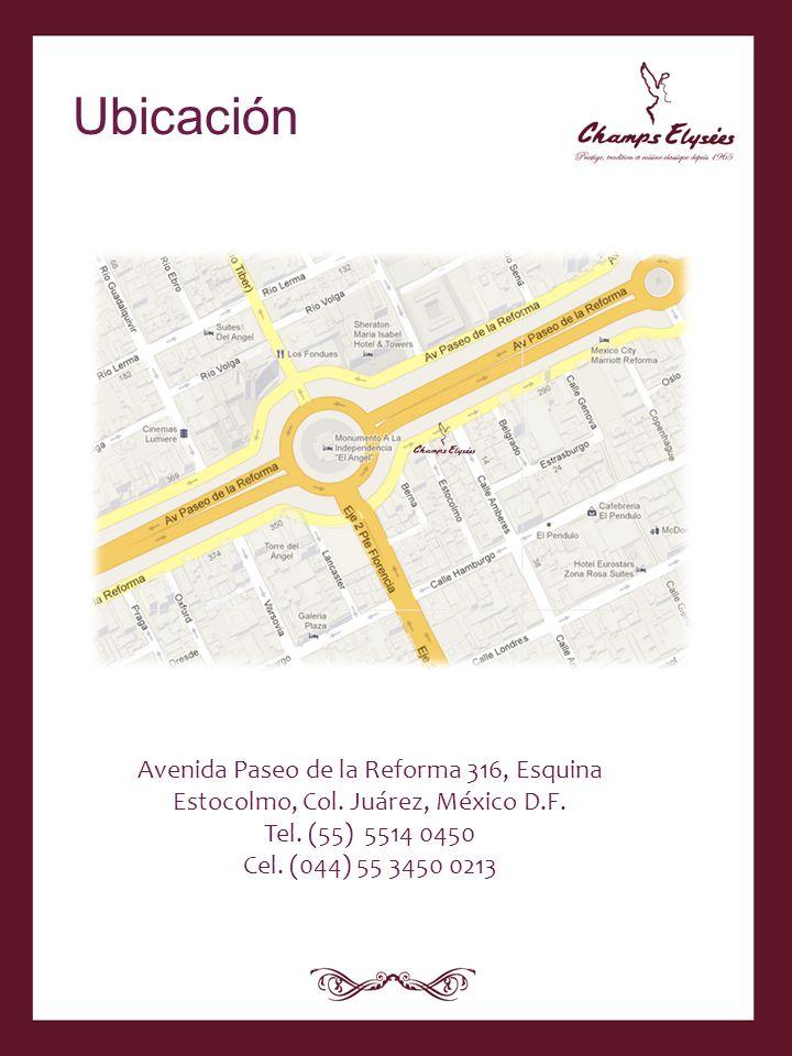 Avenida Paseo de la Reforma 316, Esquina Estocolmo, Col. Juárez, México D.F. Tel. (55) 5514 0450 Cel. (044) 55 3450 0213 Ubicación