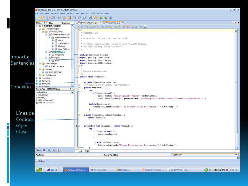 Importar Sentencias Conexión Línea de Código súper Clase