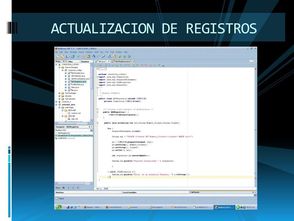 ACTUALIZACION DE REGISTROS