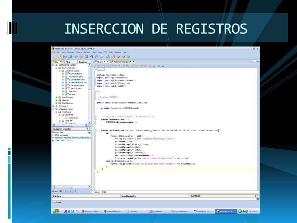 INSERCCION DE REGISTROS