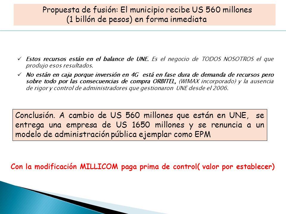 Propuesta de fusión: El municipio recibe US 560 millones (1 billón de pesos) en forma inmediata Estos recursos están en el balance de UNE.