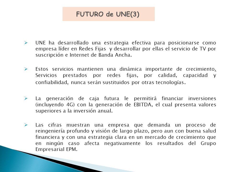 UNE ha desarrollado una estrategia efectiva para posicionarse como empresa líder en Redes Fijas y desarrollar por ellas el servicio de TV por suscripción e Internet de Banda Ancha.