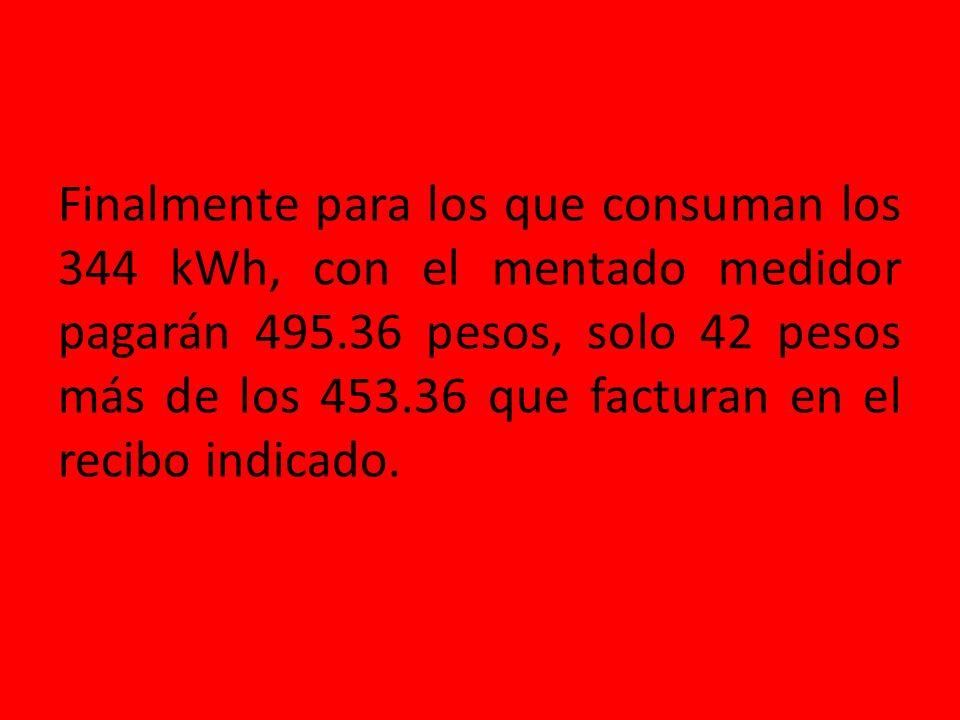 ConceptokWhPrecioTotal Básico150 X0.701 =$105.15 Intermedio100 X0.840 =$ 84.00 Suma250$189.15 CON EL MEDIDOR DE PREPAGO FACTURACION EN EL RECIBO Conce