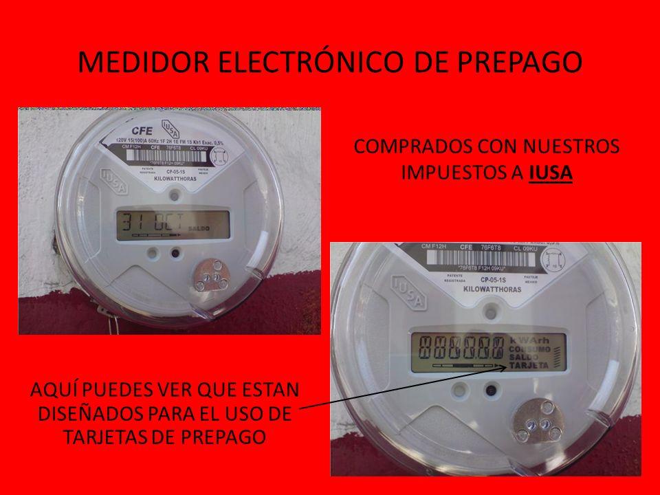 ConceptokWhPrecioTotal Básico150 X0.701 =$105.15 CON EL MEDIDOR DE PREPAGO FACTURACION EN EL RECIBO ConceptokWhPrecioTotal PROMEDIO 150 X1.44 =$216.00 $110.85 DE AUMENTO
