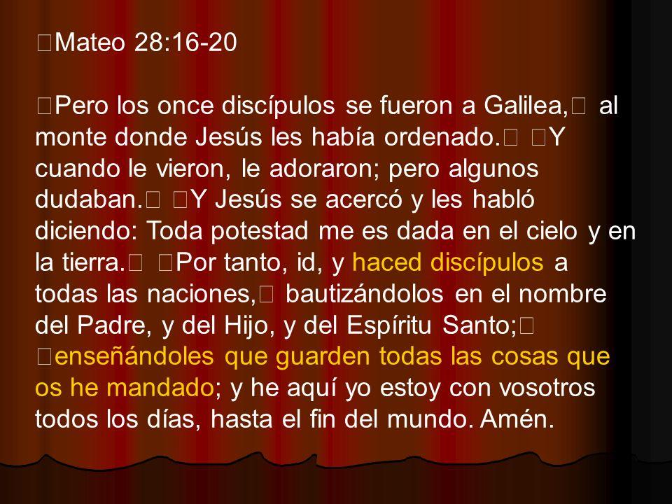 Mateo 28:16-20 Pero los once discípulos se fueron a Galilea, al monte donde Jesús les había ordenado. Y cuando le vieron, le adoraron; pero algunos du